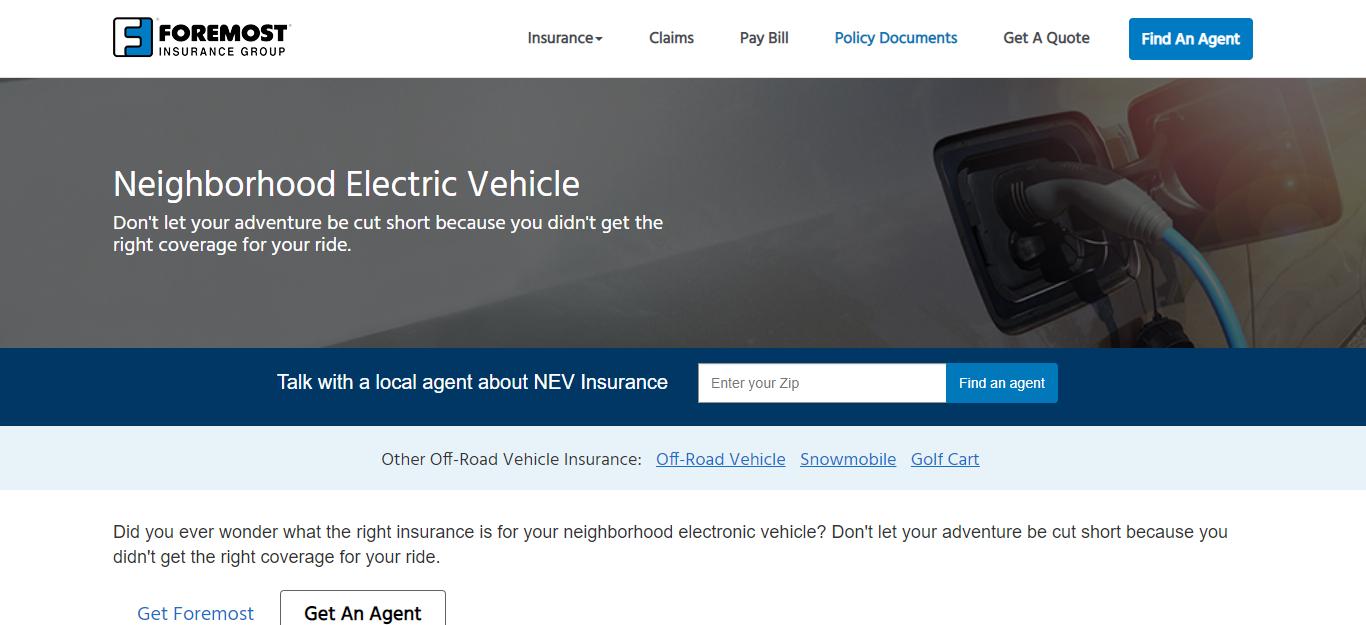 foremost Neighborhood Electric Vehicle insurance