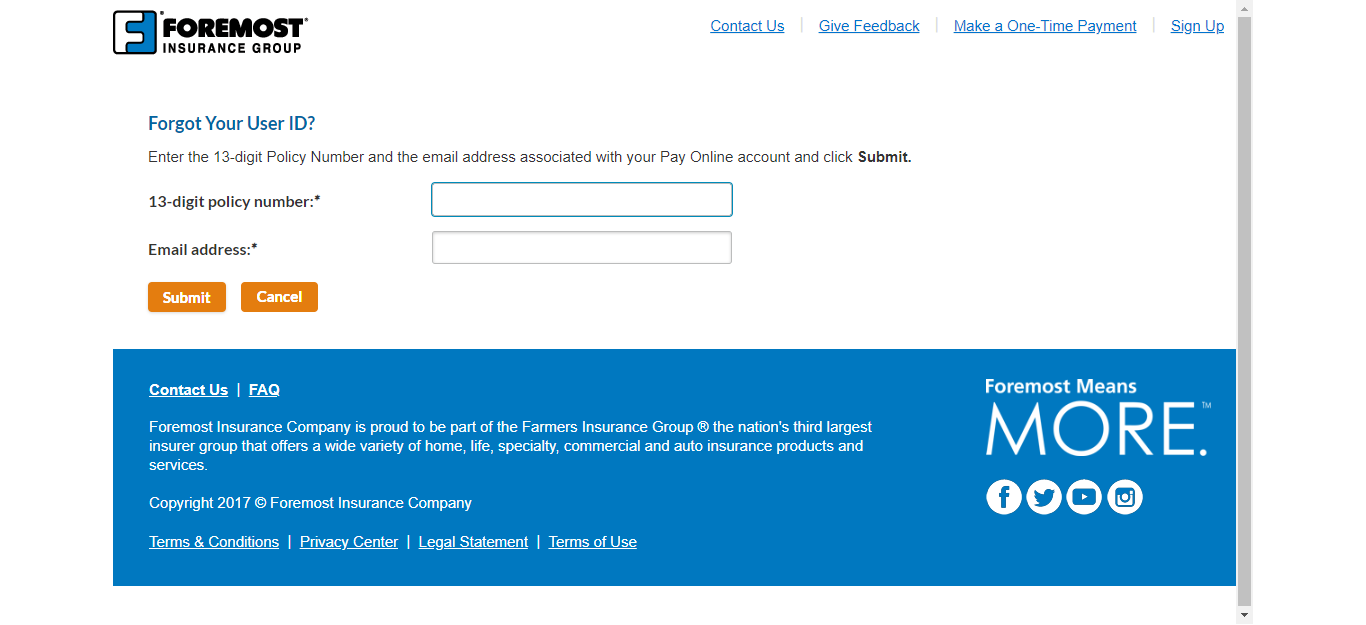 Recover User ID of ForemostPayOnline Insurance