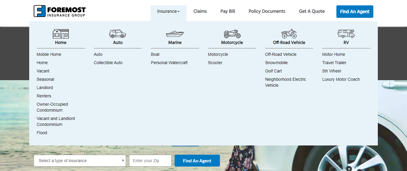 Types of Insurance Offered by Foremost Insurance Company